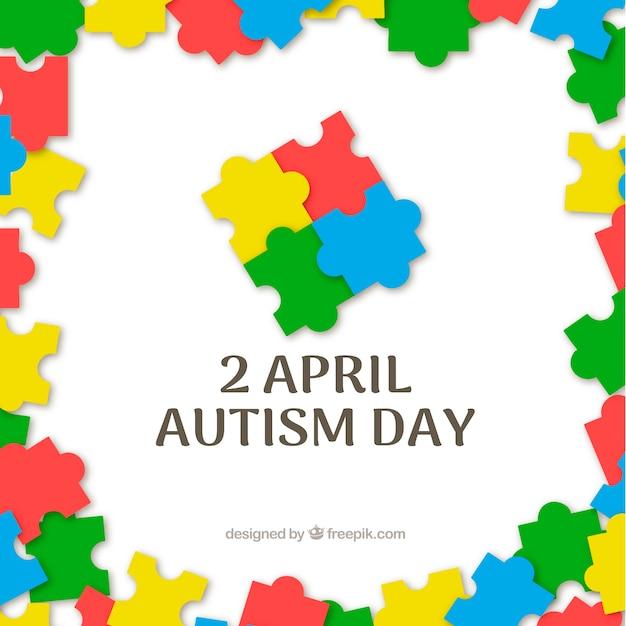 世界自閉症の日のカラフルな背景 無料ベクター