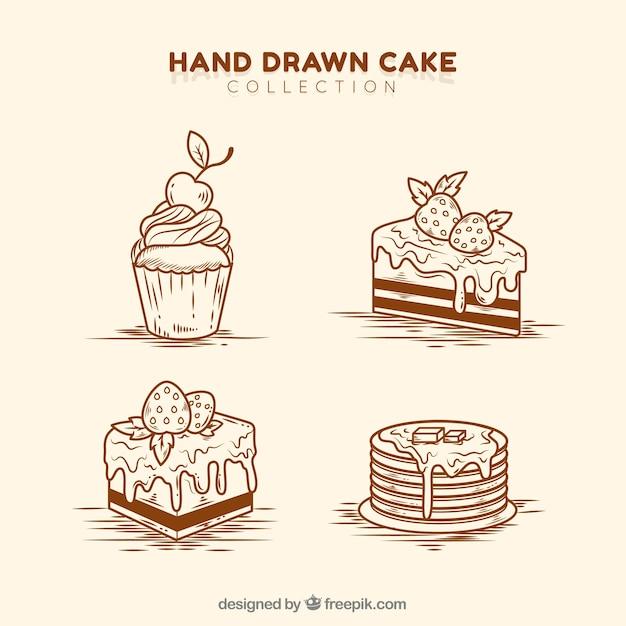 Набор восхитительных тортов в стиле ручной работы Бесплатные векторы