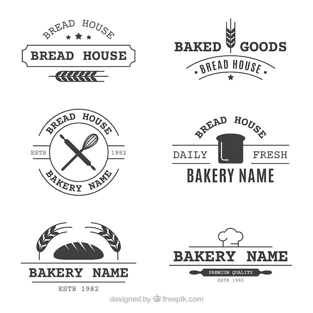Набор булочных логотипов в винтажном стиле Бесплатные векторы