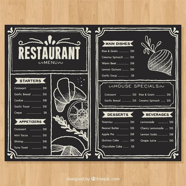 Меню ресторана в стиле доски Бесплатные векторы