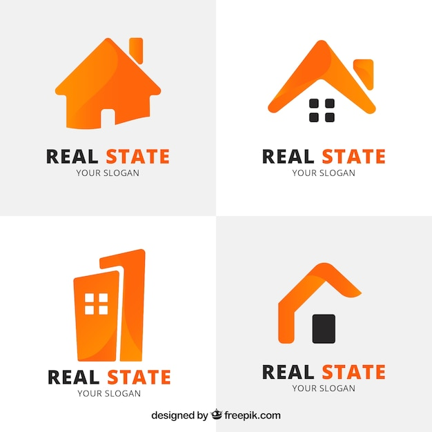 Оранжевые логотипы недвижимости Бесплатные векторы