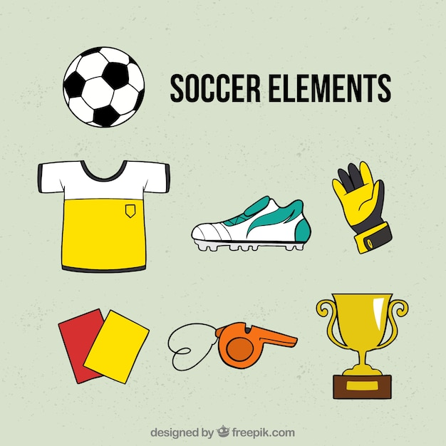 手描きのスタイルでサッカーの要素のコレクション 無料ベクター