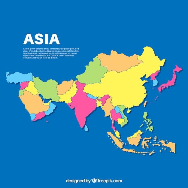 フラットスタイルのアジアの地図 無料ベクター