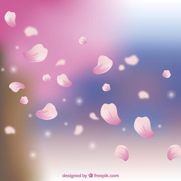 現実的なスタイルの桜の花弁の背景 無料ベクター