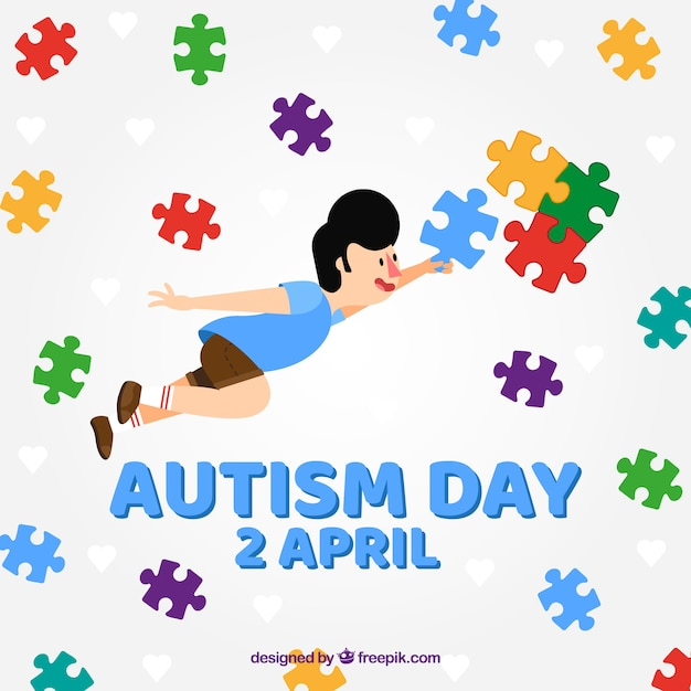Красочный фон мирового дня аутизма Бесплатные векторы