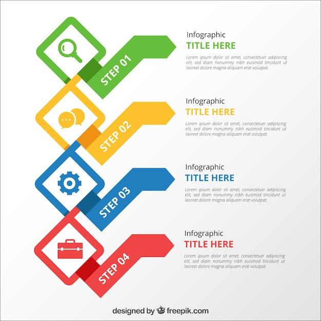 Красочные инфографические шаги Бесплатные векторы