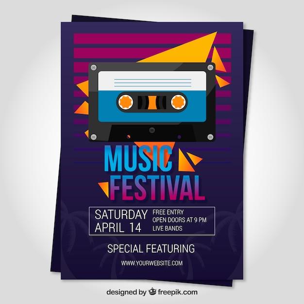 Плакат музыкального фестиваля в плоском стиле Бесплатные векторы