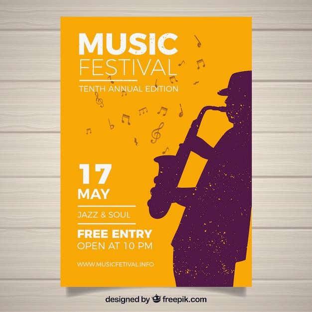フラットスタイルの音楽祭ポスター 無料ベクター