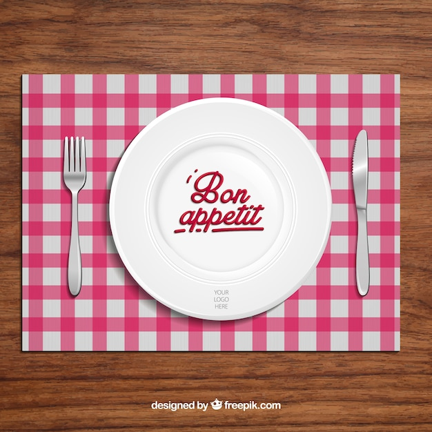 料理とカトラリーのレストランの背景 無料ベクター