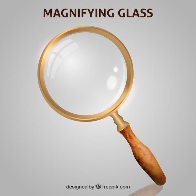 Фон увеличительного стекла в реалистичном стиле Бесплатные векторы