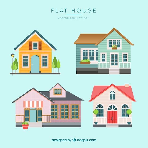 フラットスタイルのカラフルな家のコレクション 無料ベクター