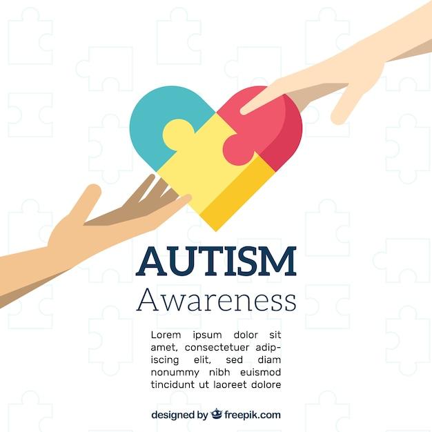 Фон дня аутизма в плоском стиле Бесплатные векторы