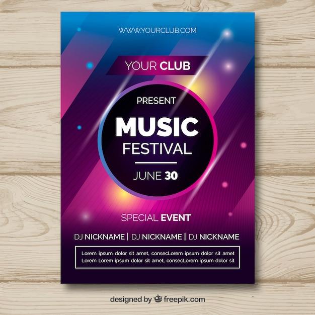 抽象的なスタイルの音楽祭のポスター 無料ベクター