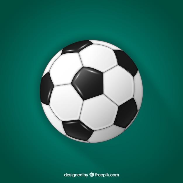 現実的なスタイルのサッカーボールの背景 無料ベクター