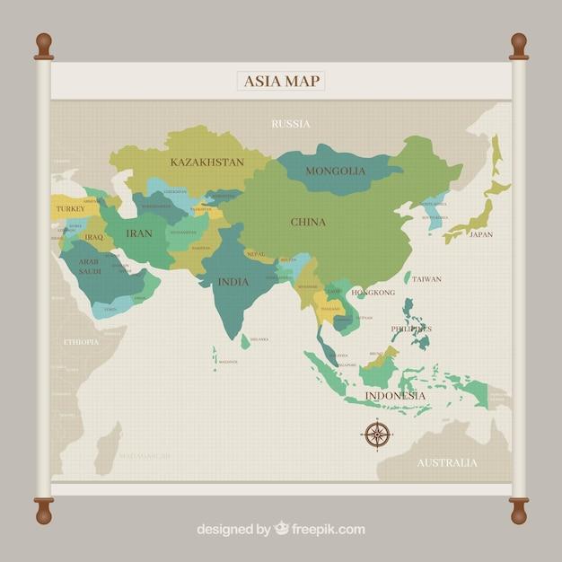 グリーントーンのアジア地図 無料ベクター