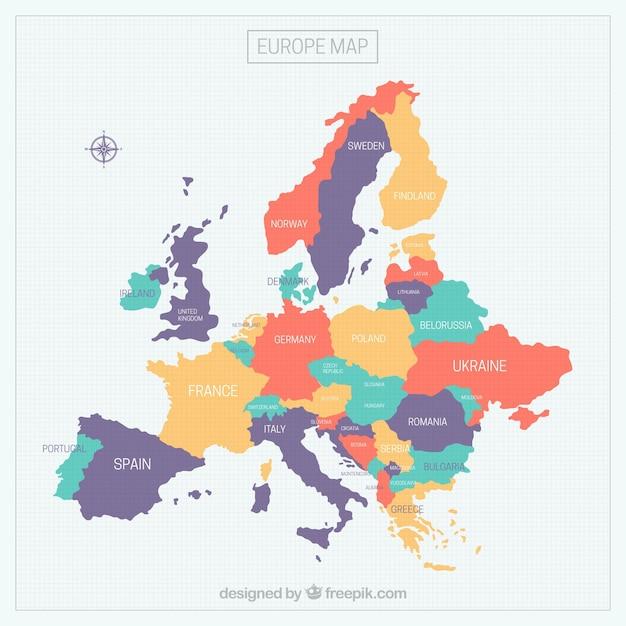 Красочная карта европы Бесплатные векторы