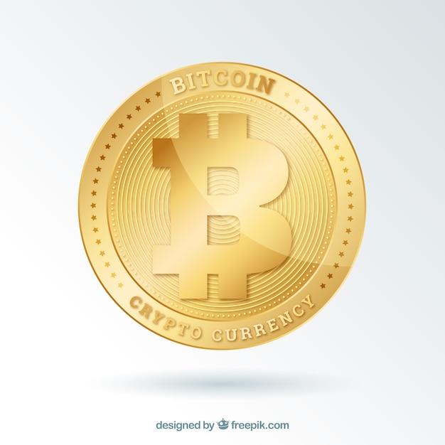 Биткойн фон с блестящей золотой монеты Бесплатные векторы