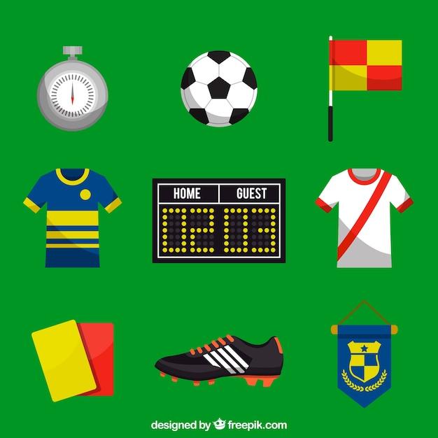 機器を備えたサッカーの要素のコレクション 無料ベクター