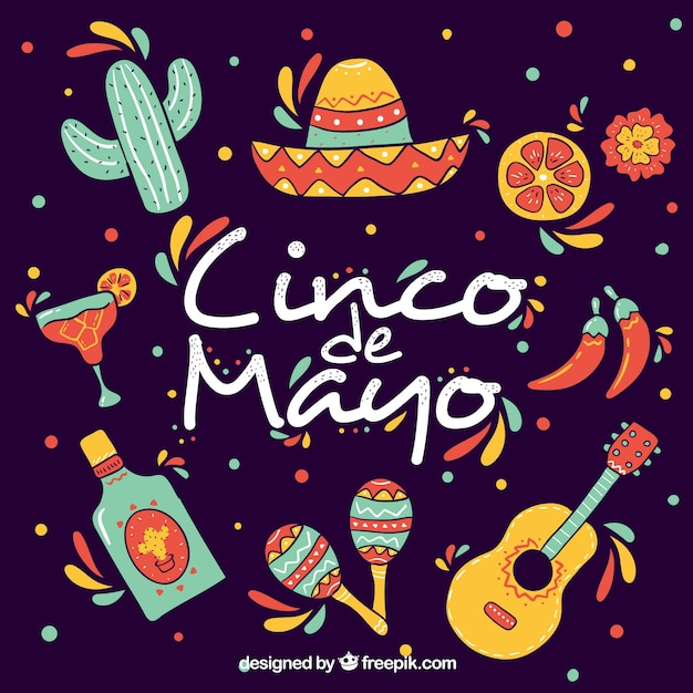Фон синко де майо с традиционными элементами Бесплатные векторы