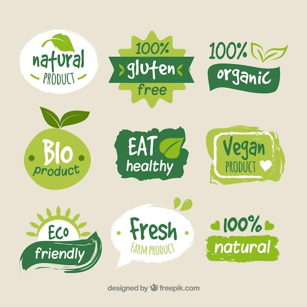 カラフルな有機食品ロゴコレクション 無料ベクター