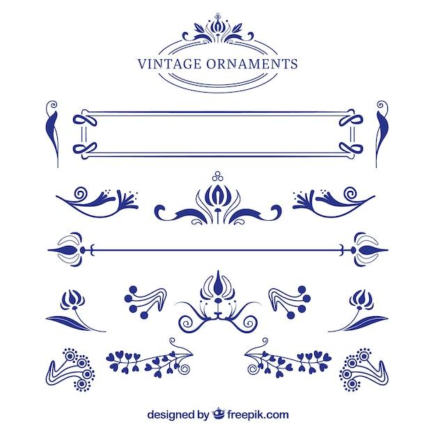 ヴィンテージ装飾品のコレクション 無料ベクター