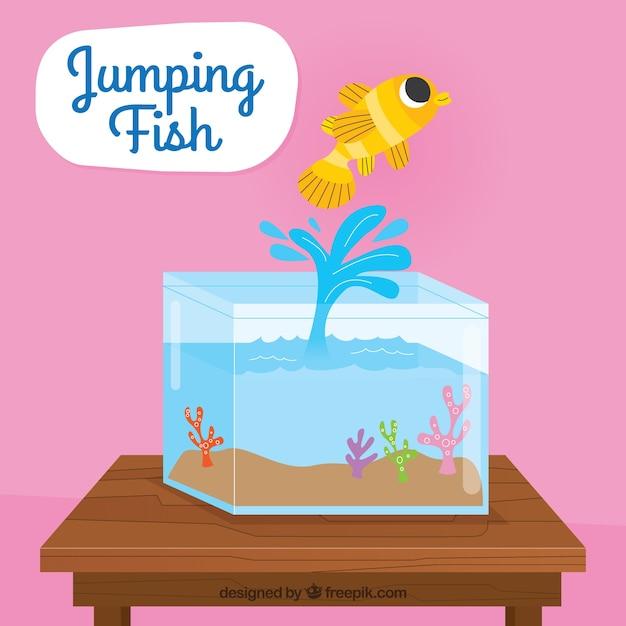 フライングスタイルの魚釣りから飛び出る金魚 無料ベクター