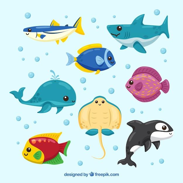 手描きのスタイルでカラフルな魚のセット 無料ベクター