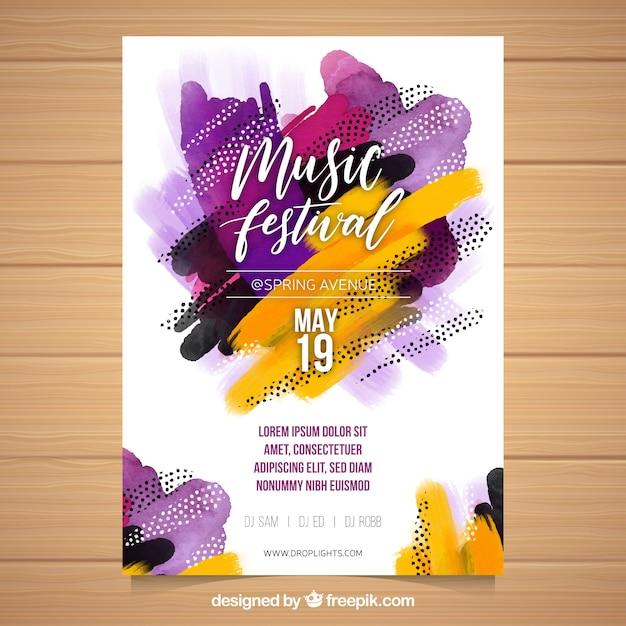 抽象的な形の音楽祭のチラシ 無料ベクター