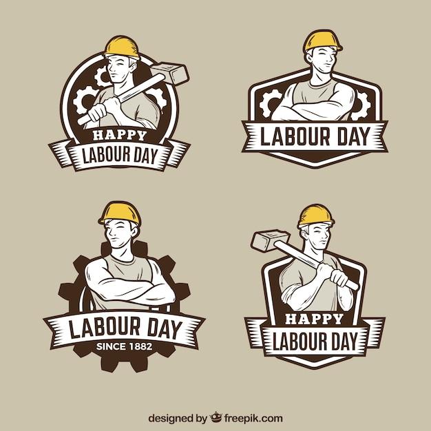 Набор значков рабочего дня в винтажном стиле Бесплатные векторы