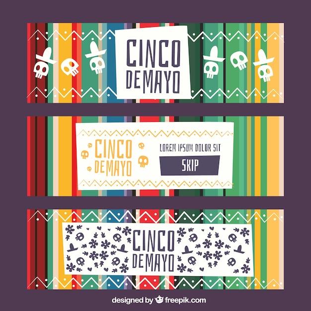 伝統的なメキシコの要素を持つシンコデー・マヨ・バナーのセット 無料ベクター