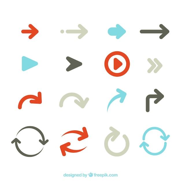 Набор красочных стрелок для обозначения в плоском стиле Бесплатные векторы