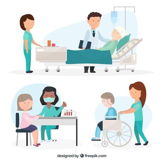 患者との様々な医師のセット 無料ベクター
