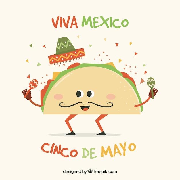 Фон синко де майо с забавным тако Бесплатные векторы