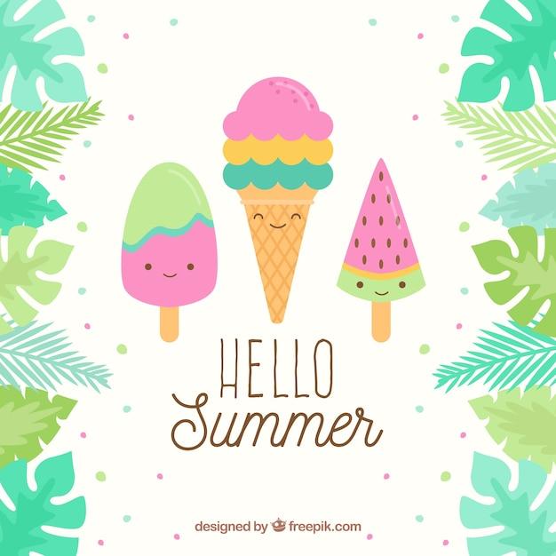 かわいいアイスクリームの夏の背景 無料ベクター