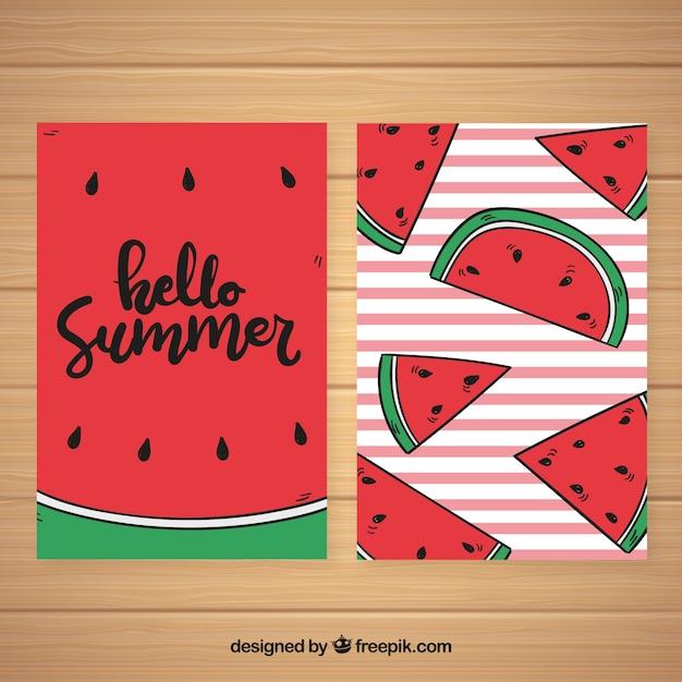 Набор летних карточек с рисунком арбузов Бесплатные векторы