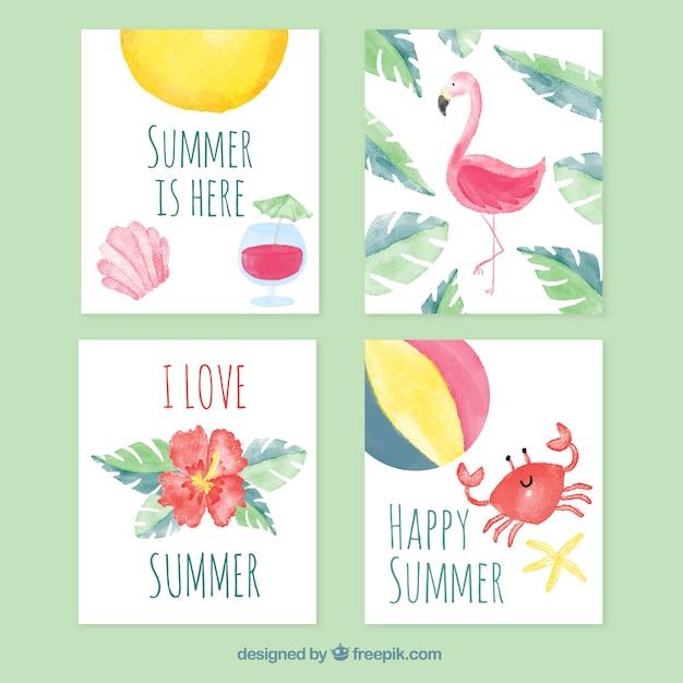 水彩の質感を持つ夏のカードのセット 無料ベクター