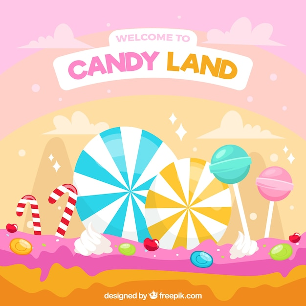 カラフルなキャンディー土地の背景 無料ベクター