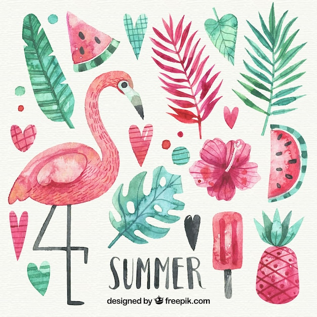 水彩スタイルの夏の要素のセット 無料ベクター