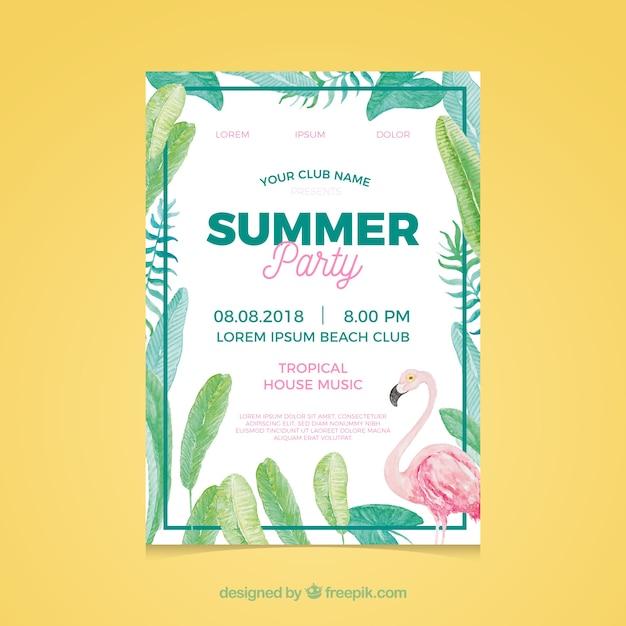 植物とフラミンゴによるサマーパーティ招待 無料ベクター