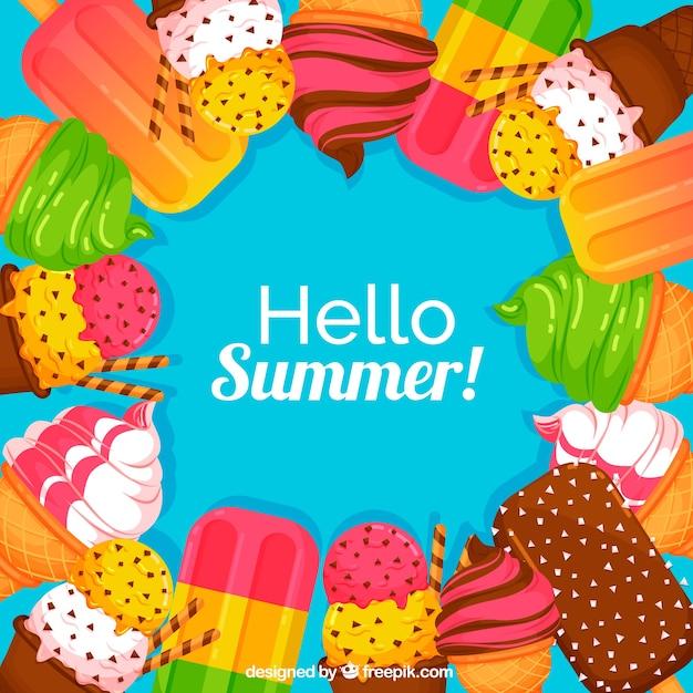 おいしいアイスクリームと夏の背景 無料ベクター