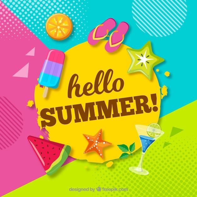 Веселый и красочный летний фон Бесплатные векторы