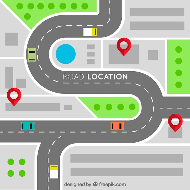 Дорожная карта с указателями в плоском стиле Бесплатные векторы