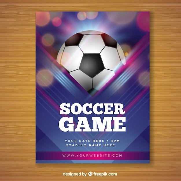 現実的なスタイルのサッカーのゲームチラシ 無料ベクター