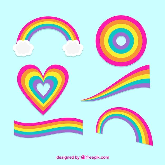 カラフルな虹のセット 無料ベクター