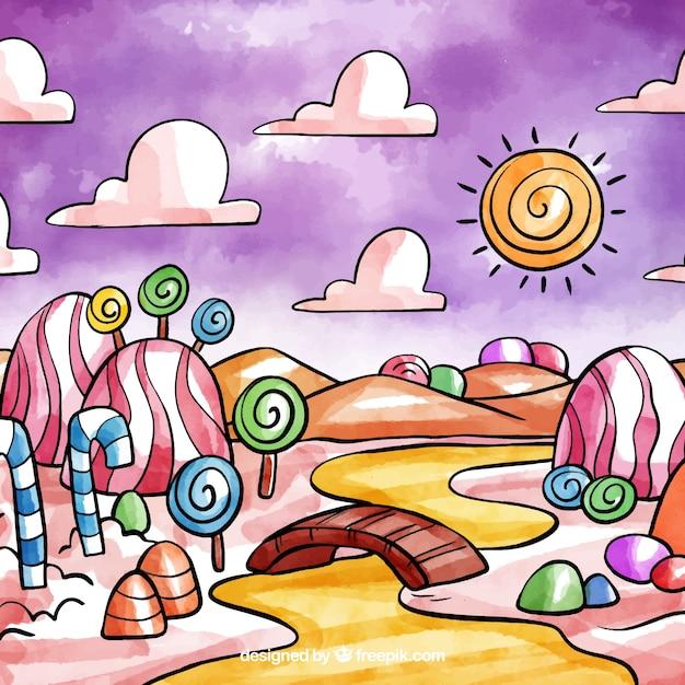 水彩スタイルのキャンディーランドの背景 無料ベクター