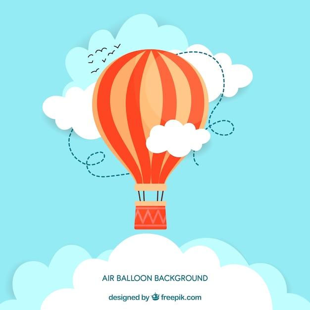 熱気球の旅行の背景 無料ベクター