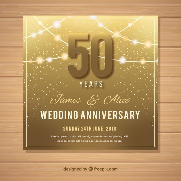 ゴールデンスタイルの結婚記念日カード 無料ベクター