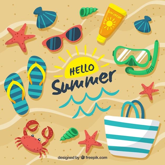 Привет, лето фон с элементами пляжа Бесплатные векторы