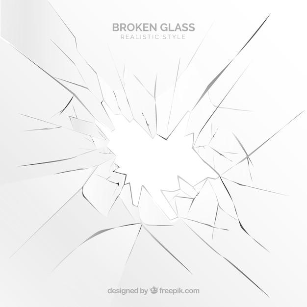 現実的なスタイルの破損したガラスの背景 無料ベクター