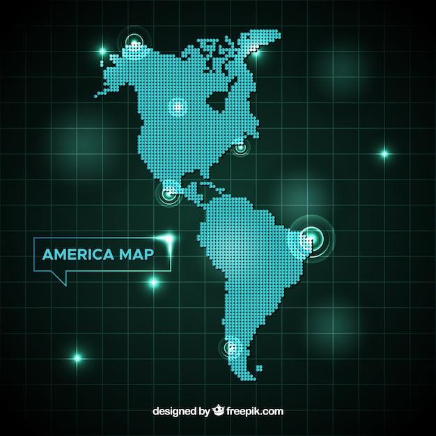Карта америки с точками Бесплатные векторы